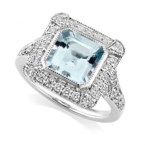 18ct White Gold Aquamarine & Diamond Deco Ring