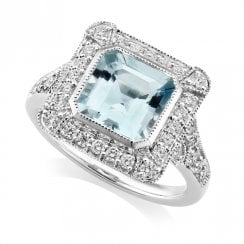 18ct White Gold Aquamarine & Diamond Deco Ring
