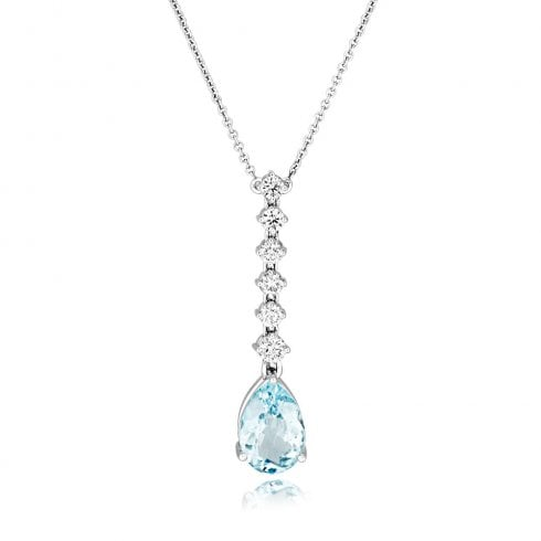 18ct White Gold Aquamarine & Diamond Drop Pendant