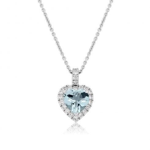 18ct White Gold Aquamarine & Diamond Heart Pendant