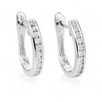 18ct White Gold Channel Set Diamond Hoop Earrings