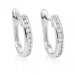 18ct White Gold Channel Set Diamond Hoop Earrings