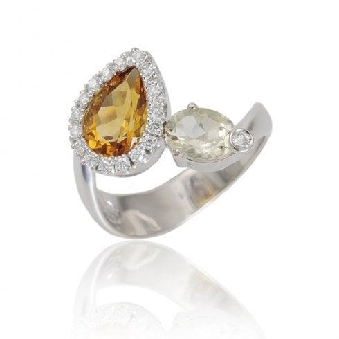 18ct White Gold Citrine, Quartz And Diamond Cluster Ring