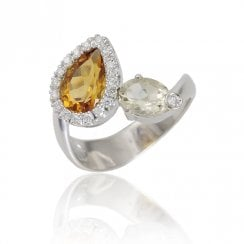 18ct White Gold Citrine, Quartz And Diamond Cluster Ring