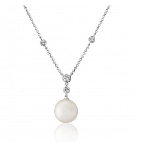 18ct White Gold Cultured Pearl & Diamond Drop Necklet