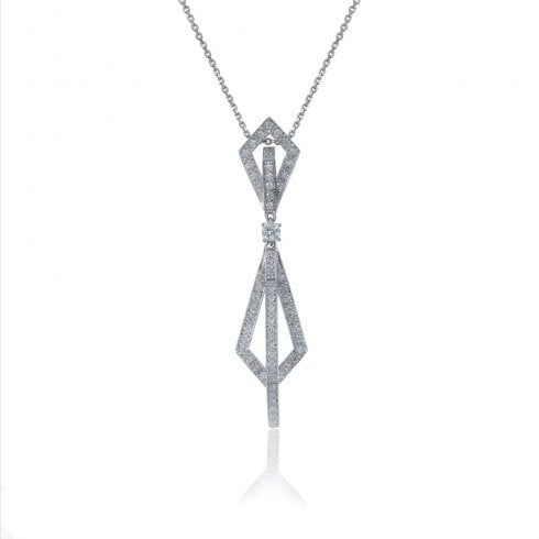 18ct White Gold Diamond Art Deco Insprired Pendant
