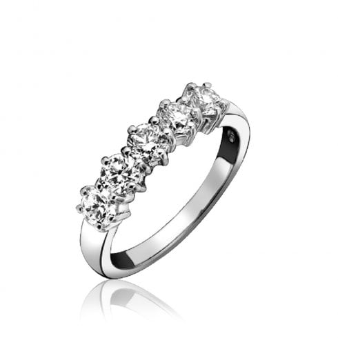 18ct White Gold Diamond Five Stone Claw Set Eternity Ring