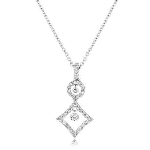 18ct White Gold & Diamond Floating Drop Pendant