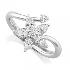 18ct White Gold & Diamond Flower Cluster Ring