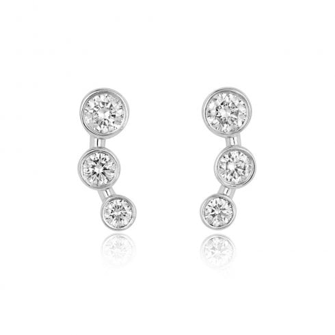 18ct White Gold & Diamond Graduated Trilogy Earrings