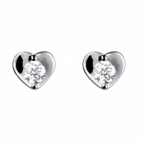18ct White Gold Diamond Heart Earrings