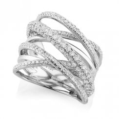 18ct White Gold & Diamond Multi-Strand Dress Ring