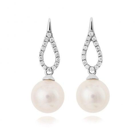 18ct White Gold Diamond & Pearl Drop Earrings