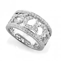 18ct White Gold & Diamond Pierced Swirl Dress Ring