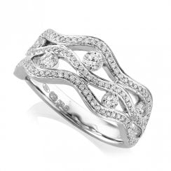 18ct White Gold Diamond Triple Wave Ring