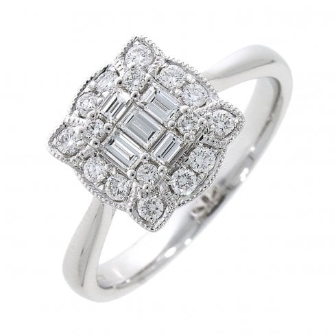 18ct White Gold Diamond Vintage Style Cluster Ring