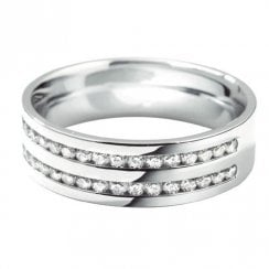 18ct. White Gold Double Row 60% Channel Set Diamond Ring