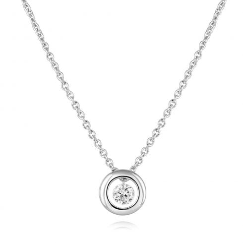18ct White Gold Floating Diamond Pendant