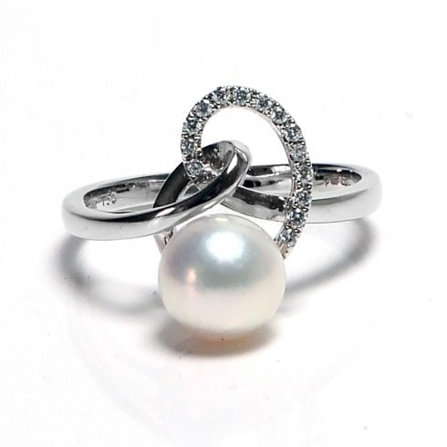 18ct White Gold Freshwater Cultured Pearl & Diamond Swirl Ring