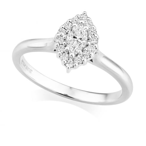 18ct White Gold Marquise Cluster Diamond Ring