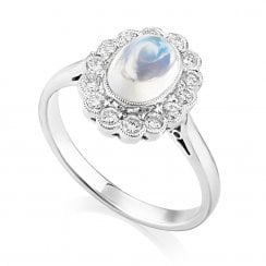 18ct White Gold Moonstone & Diamond Cluster Ring