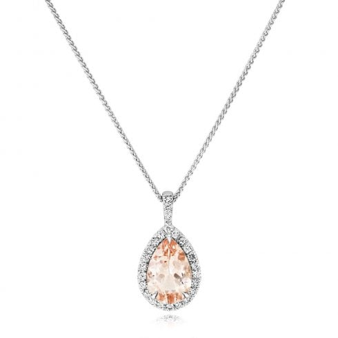 18ct White Gold Morganite & Diamond Cluster Pendant