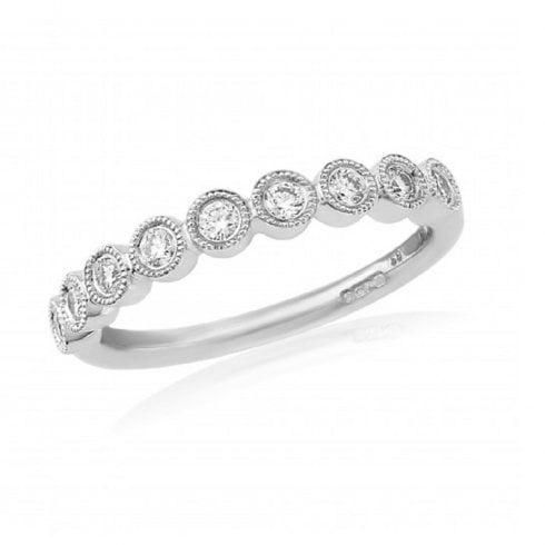 18ct White Gold Nine Stone Diamond Rubover Half Eternity