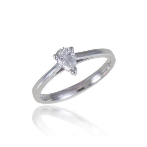 18ct White Gold Pear Shaped Diamond Solitaire Ring