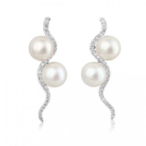 18ct White Gold Pearl & Diamond Cascade Drop Earrings