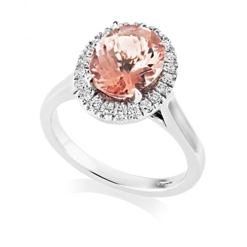 18ct White Gold Pink Tourmaline & Diamond Oval Cluster Ring