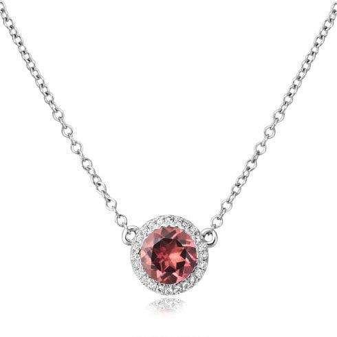 18ct White Gold Pink Tourmaline & Diamond Pendant