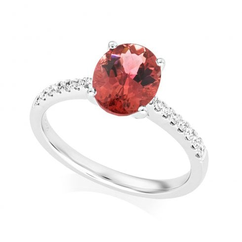 18ct White Gold Pink Tourmaline & Diamond Shoulder Set Ring