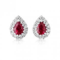 18ct White Gold Ruby & Diamond Cluster Earrings