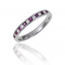 18ct White Gold Ruby & Diamond Half Eternity Ring