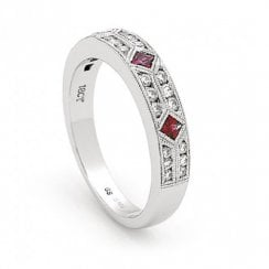 18ct White Gold Ruby & Diamond Millegrain Half Eternity Ring
