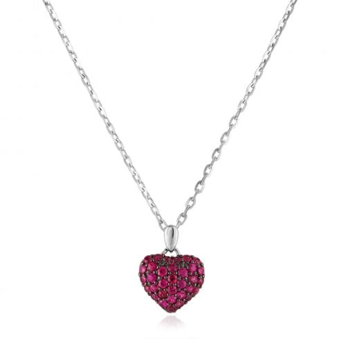 18ct White Gold Ruby Heart Pendant