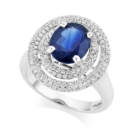 18ct White Gold Sapphire And Diamond Double Oval Cluster Ring