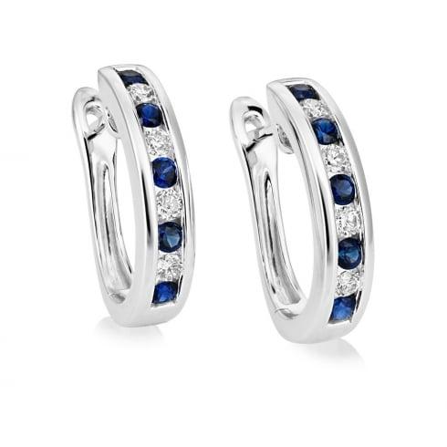 18ct White Gold Sapphire & Diamond Channel Set Hoop Earrings