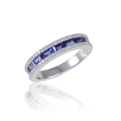 18ct White Gold Sapphire & Diamond Half Eternity Ring