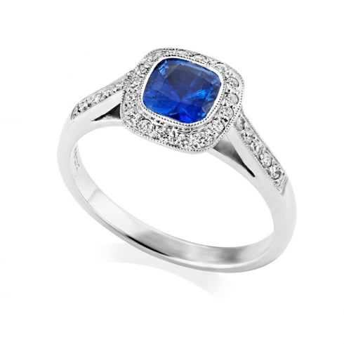 18ct White Gold Sapphire & Diamond Halo Cluster RIng