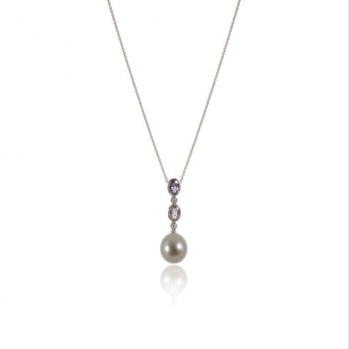 18ct White Gold Tahitian Pearl, Sapphire Diamond Pendant