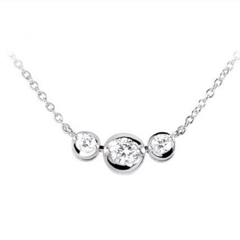 18ct White Gold Trilogy Diamond Necklet