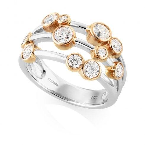 18ct White & Rose Gold Multi-Strand Diamond Bubble Ring