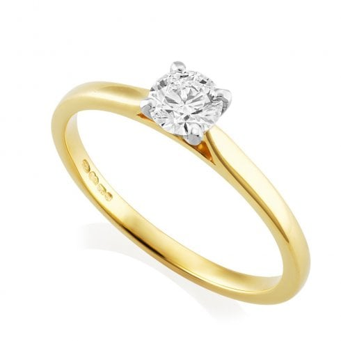 18ct Yellow Gold 0.39ct F/SI2 GIA Diamond Solitaire Ring