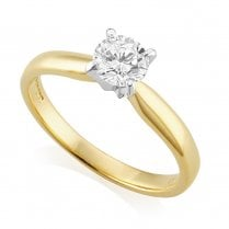 18ct Yellow Gold 0.53ct. F/SI2 GIA Cert Solitaire Diamond Ring
