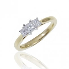 18ct Yellow Gold 0.54ct. G/VS1 Trilogy Diamond Ring