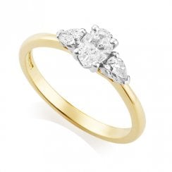 18ct Yellow Gold 0.61ct Three Stone Diamond Ring
