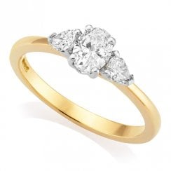 18ct Yellow Gold 0.69ct Three Stone Diamond Ring GIA Centre