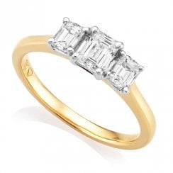 18ct Yellow Gold 0.78ct Emerald Cut Diamond Ring, GIA Centre