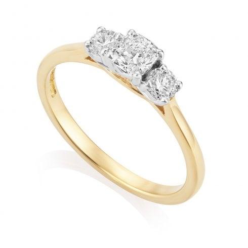 18ct Yellow Gold 0.84ct. Three Stone Diamond Ring